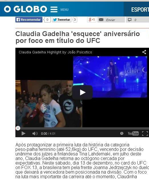HL Claudia Gadelha-Guga Noblat no Globo