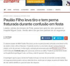 Combate - matéria exclusiva sobre Paulão Filho.
