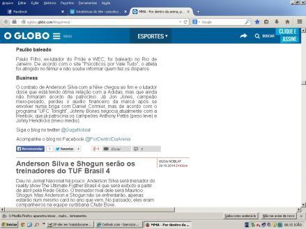 Globo.com - matéria exclusiva sobre Paulão Filho.
