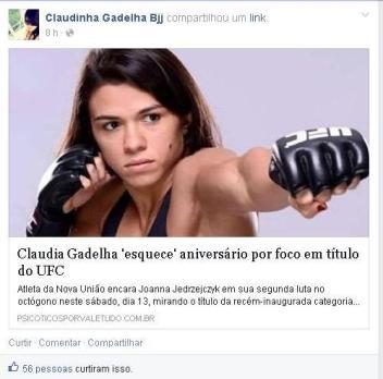 Matéria com Claudia Gadelha rede social da atleta