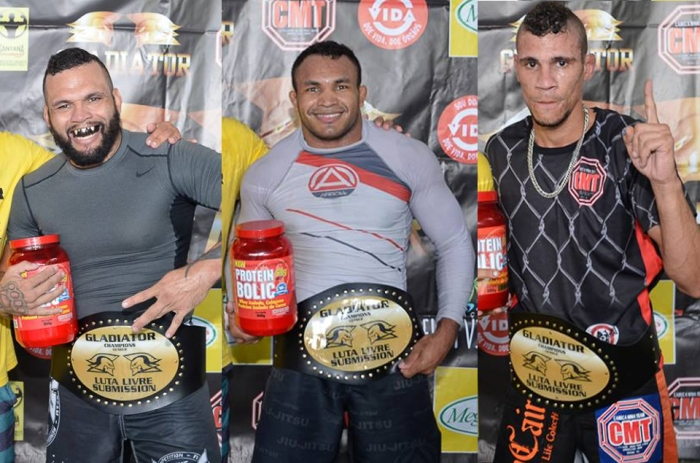 Os Campeões Julian Jabba, Fabiano Jacarezinho e Fernando Maricá