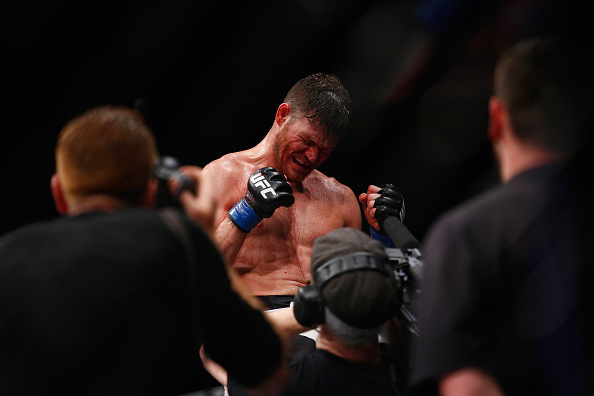 during the Middleweight Bout of the UFC Fight Night  at The O2 Arena on February 27, 2016 in London, England.