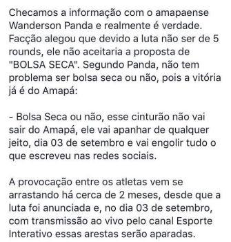 Publicação: Página Clube do Faixa Pretado, Facebook