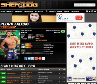 Perfil do Atleta no site.